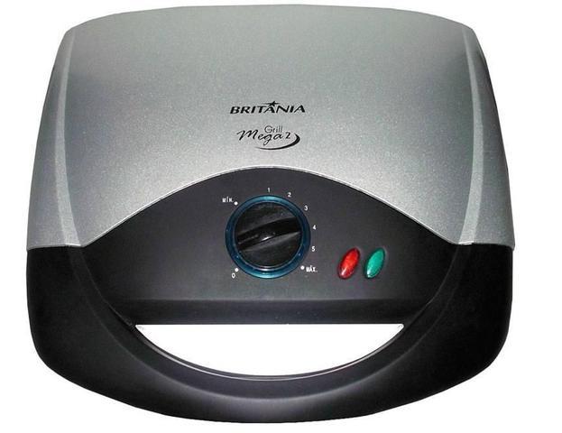 Imagem de Grill Britânia Mega 2, Preto e Inox, Antiaderente, 110V