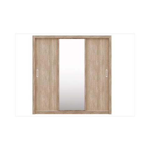 Imagem de Guarda Roupa 03 Portas de Correr com Espelho Residence Nogal/Vanilla - Demóbile