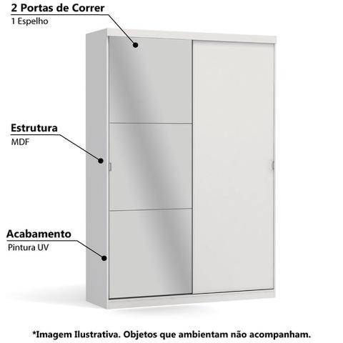 Imagem de Guarda Roupa 2 Portas de Correr e Espelho Kappesberg - Branco