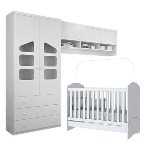 Imagem de Guarda Roupa 2 Portas Eloisa 100% MDF + Armário Aéreo Módulo + Berço Mini Cama para Quarto Infantil de Bebê - Phoenix Ba