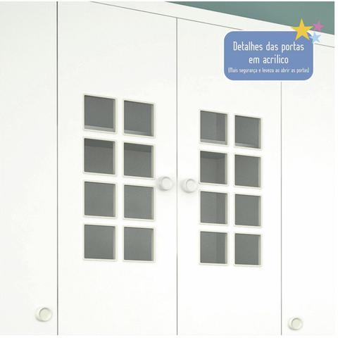Imagem de Guarda Roupa Bebê 4 Portas 5 Gavetas Primore Tcil Móveis Branco