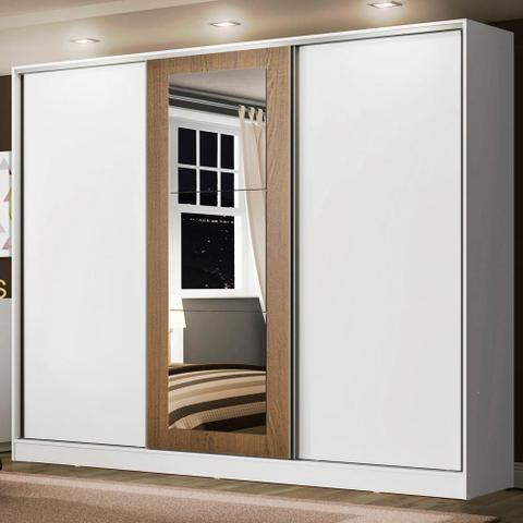 Imagem de Guarda Roupa Casal 100% MDF Madesa Eros 3 Portas de Correr com Espelho - Branco/Branco/Rustic
