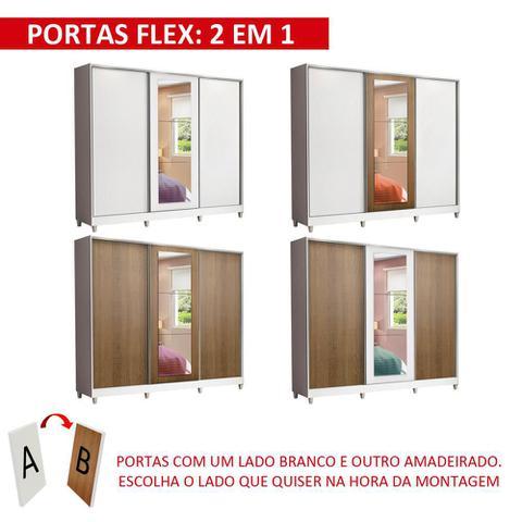 Imagem de Guarda Roupa Casal 100% MDF Madesa Eros 3 Portas de Correr com Espelho com Pés - Branco/Rustic