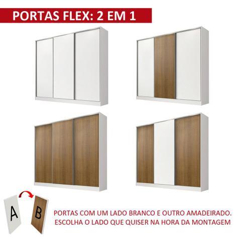 Imagem de Guarda Roupa Casal 100% MDF Madesa Royale 3 Portas de Correr - Branco/Branco/Rustic