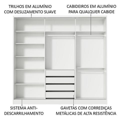 Imagem de Guarda Roupa Casal 100% MDF Madesa Royale 3 Portas de Correr - Branco/Rustic