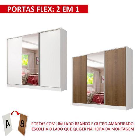 Imagem de Guarda Roupa Casal 100% MDF Madesa Royale 3 Portas de Correr com Espelho - Branco/Rustic