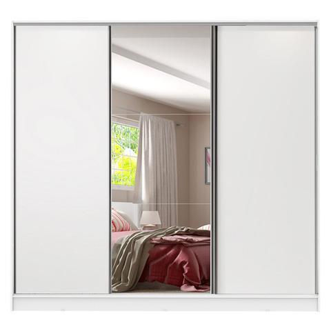 Imagem de Guarda Roupa Casal 100% MDF Madesa Royale 3 Portas de Correr com Espelho - Branco