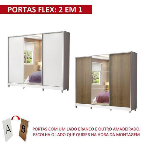 Imagem de Guarda Roupa Casal 100% MDF Madesa Royale 3 Portas de Correr com Espelho com Pés - Branco/Rustic