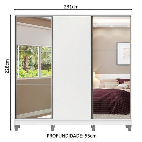 Imagem de Guarda Roupa Casal 100% MDF Madesa Royale 3 Portas de Correr com Espelho com Pés - Branco