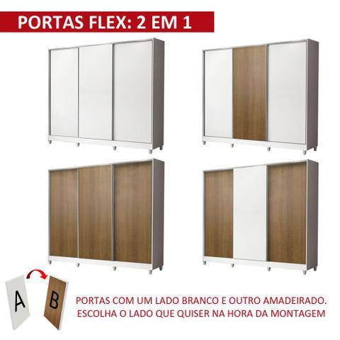 Imagem de Guarda Roupa Casal 100% MDF Madesa Royale 3 Portas de Correr com Pés- Branco/Rustic