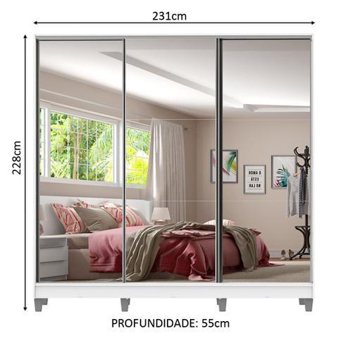 Imagem de Guarda Roupa Casal 100% MDF Madesa Royale 3 Portas de Correr de Espelho com Pés