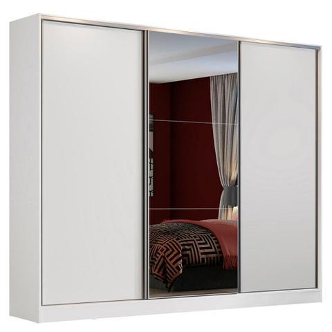 Imagem de Guarda Roupa Casal 100% MDF Madesa Zurique 3 Portas de Correr com Espelho - Branco