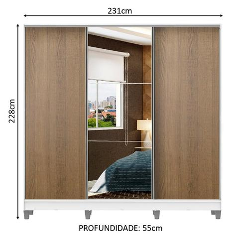 Imagem de Guarda Roupa Casal 100% MDF Madesa Zurique 3 Portas de Correr com Espelho com Pés - Branco/Rustic