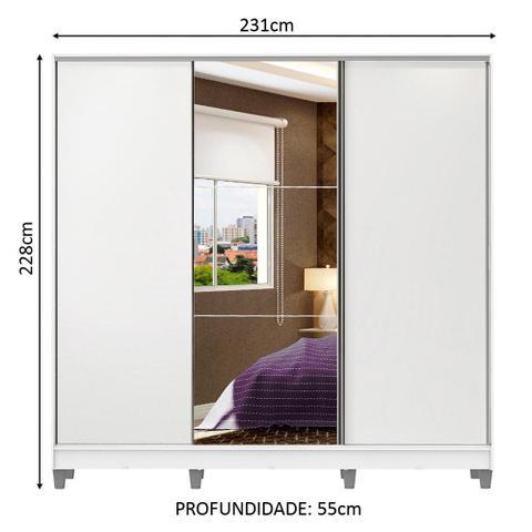Imagem de Guarda Roupa Casal 100% MDF Madesa Zurique 3 Portas de Correr com Espelho com Pés - Branco