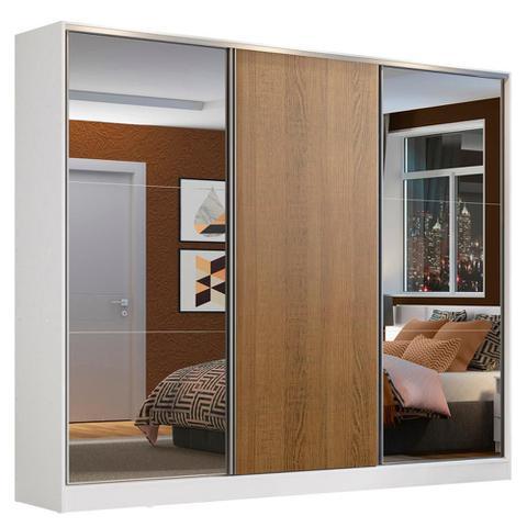 Imagem de Guarda Roupa Casal 100% MDF Madesa Zurique 3 Portas de Correr com Espelhos - Branco/Rustic