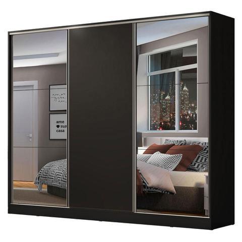 Imagem de Guarda Roupa Casal 100% MDF Madesa Zurique 3 Portas de Correr com Espelhos - Preto