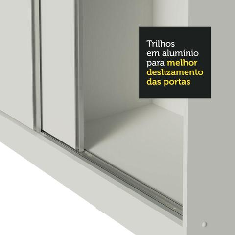 Imagem de Guarda Roupa Casal 100% MDF Madesa Zurique 3 Portas de Correr com Pés - Branco