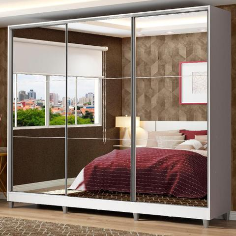 Imagem de Guarda Roupa Casal 100% MDF Madesa Zurique 3 Portas de Correr de Espelho com Pés - Branco