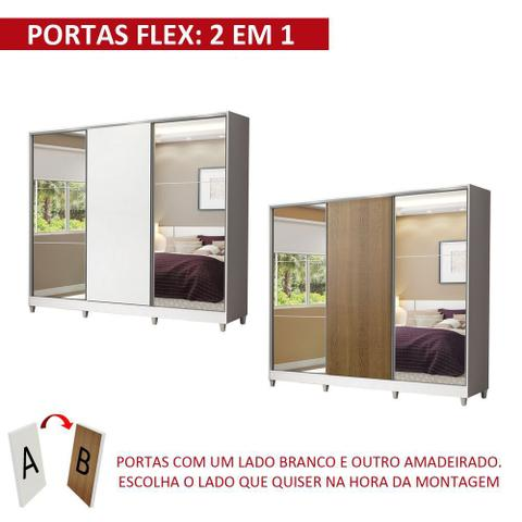 Imagem de Guarda Roupa Casal 100% MDF Royale 3 Portas de Correr com Espelho com Pés 1063-2ECP Madesa