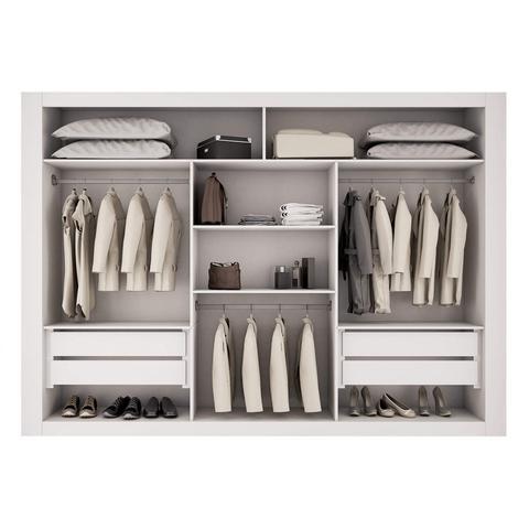 Imagem de Guarda Roupa Casal 3 Espelhos 3 Portas Carina Espresso Móveis Branco