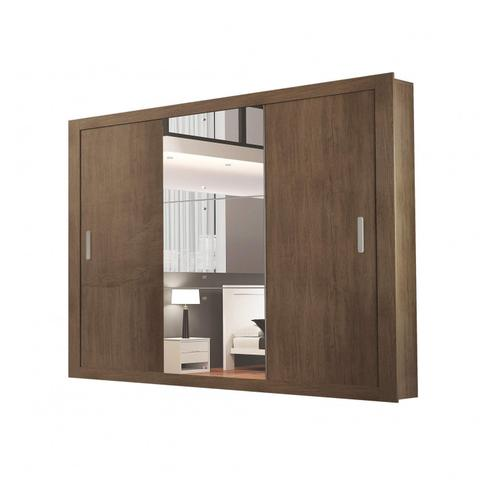 Imagem de Guarda Roupa Casal 3 Espelhos 3 Portas de Correr 4 Gavetas Gênesis Espresso Móveis Café