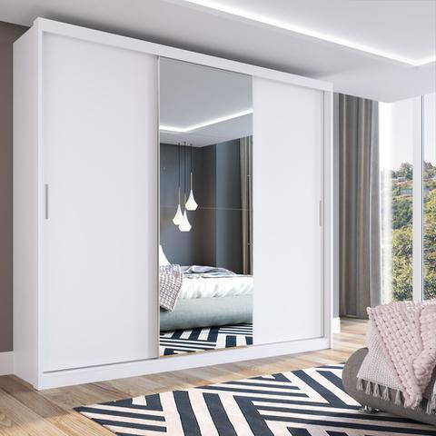 Imagem de Guarda Roupa Casal 3 Portas 1 Espelho 100% MDF London Yescasa Branco