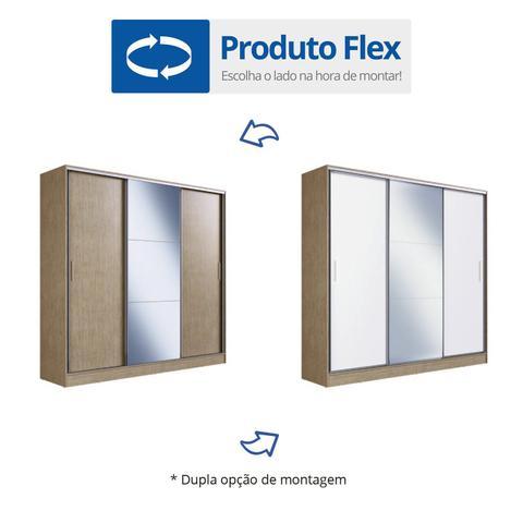 Imagem de Guarda Roupa Casal 3 Portas 1 Espelho 100% MDF London Yescasa Nogal