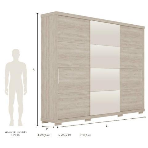 Imagem de Guarda Roupa Casal 3 Portas 6 Gavetas Com Espelho New Fortuno Robel