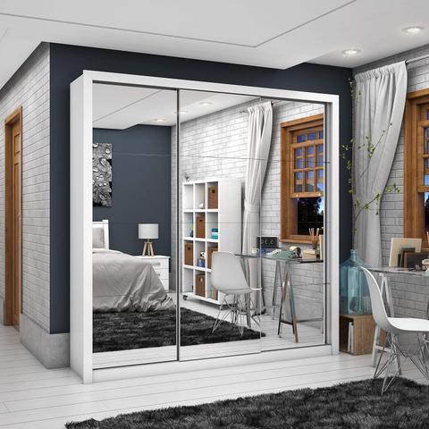 Imagem de Guarda Roupa Casal 3 Portas com Espelho Clarice Premium Siena Móveis Branco