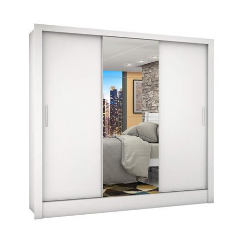 Imagem de Guarda Roupa Casal 3 Portas com Espelho Porto Plus Espresso Móveis Branco