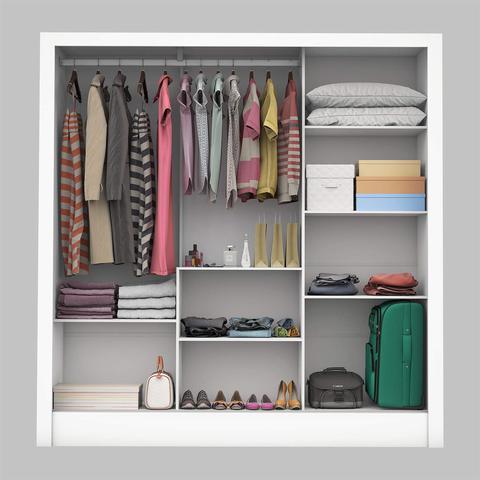 Imagem de Guarda Roupa Casal 3 Portas com Espelho Porto Plus Siena Móveis Branco
