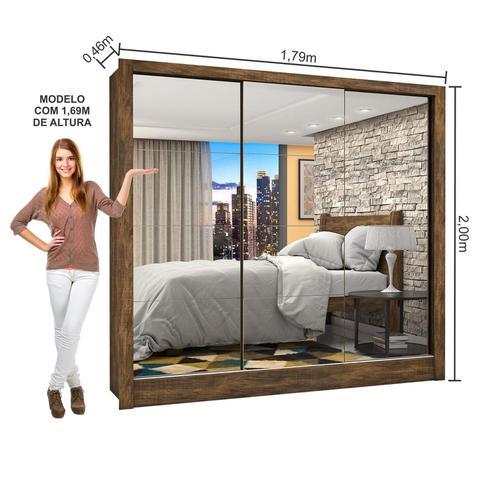 Imagem de Guarda Roupa Casal 3 Portas com Espelho Porto Premium Espresso Móveis Demolição
