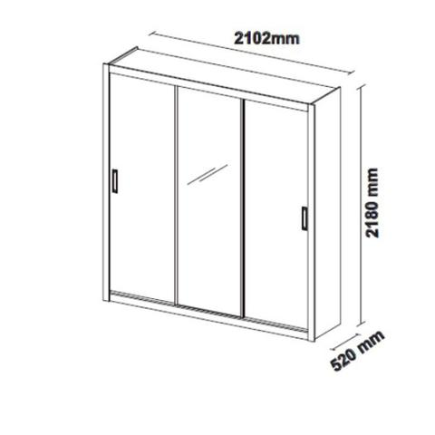 Imagem de Guarda Roupa Casal 3 Portas com Espelho Residence II Demóbile