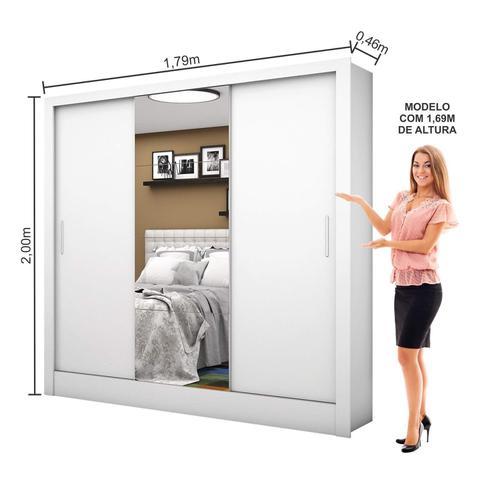 Imagem de Guarda Roupa Casal 3 Portas com Espelho Santiago Plus Espresso Móveis Branco