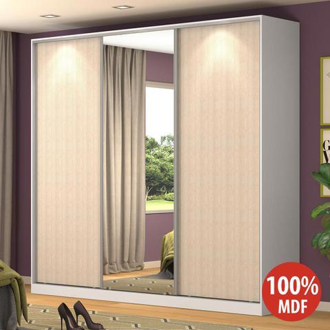 Imagem de Guarda-Roupa Casal 3 Portas Correr 1 Espelho Rc3001 Branco/Noce - Nova Mobile