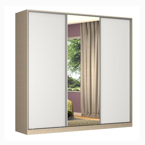 Imagem de Guarda-Roupa Casal 3 Portas Correr 1 Espelho Rc3001 Noce/Branco - Nova Mobile