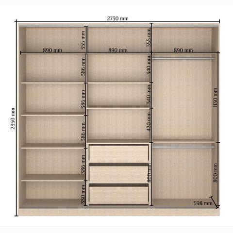 Imagem de Guarda-Roupa Casal 3 Portas Correr 1 Espelho Rc3002 Branco/Noce - Nova Mobile