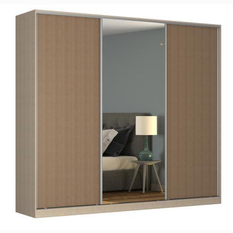 Imagem de Guarda-Roupa Casal 3 Portas Correr 1 Espelho Rc3002 Noce/Ocre - Nova Mobile