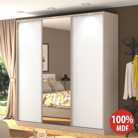 Imagem de Guarda-Roupa Casal 3 Portas Correr 1 Espelho Rc3003 Noce/Branco - Nova Mobile