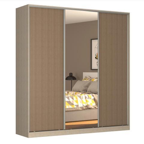 Imagem de Guarda-Roupa Casal 3 Portas Correr 1 Espelho Rc3003 Noce/Ocre - Nova Mobile