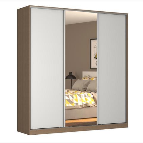 Imagem de Guarda-Roupa Casal 3 Portas Correr 1 Espelho Rc3003 Ocre/Branco - Nova Mobile