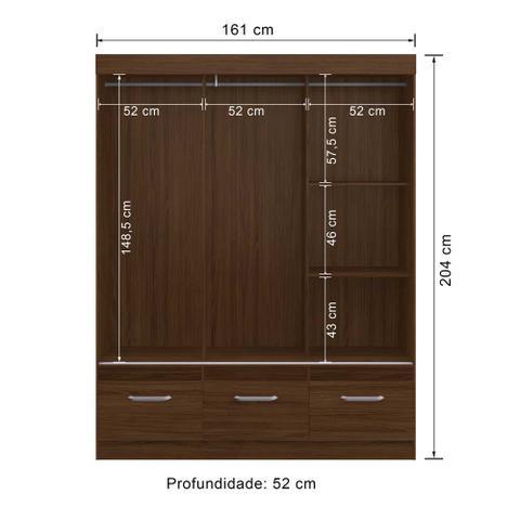 Imagem de GUARDA-ROUPA CASAL 3 PORTAS CORRER 3 GAVETAS COM ESPELHO RP3330/E CACAU/MALBEC - DECIBAL MóVEIS