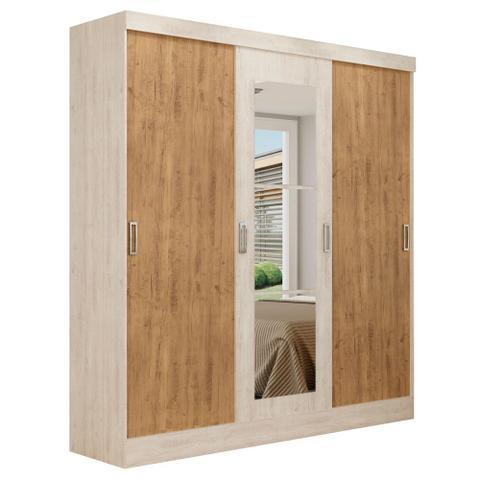 Imagem de Guarda-roupa casal 3 portas de correr 100 mdf em. com espelho 4228-21 ipe tex/vanilla tex  branco