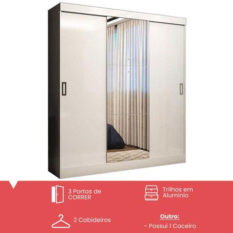 Imagem de Guarda-roupa casal 3 portas de correr 100% mdf emily plus com espelho 27199 branco - pnr móveis