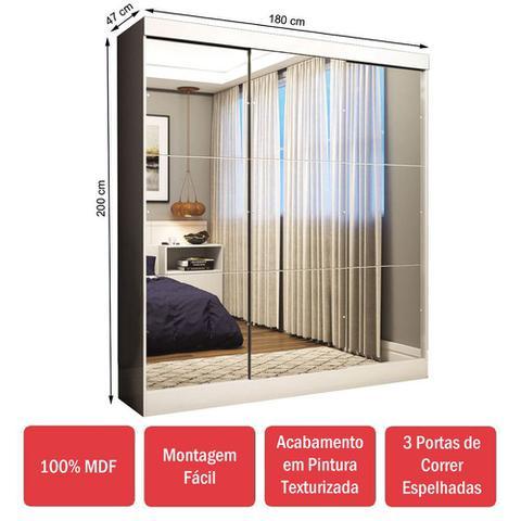 Imagem de Guarda-Roupa Casal 3 Portas de Correr 100% Mdf Emily Ultra com Espelho 28673 Branco - Pnr Móveis