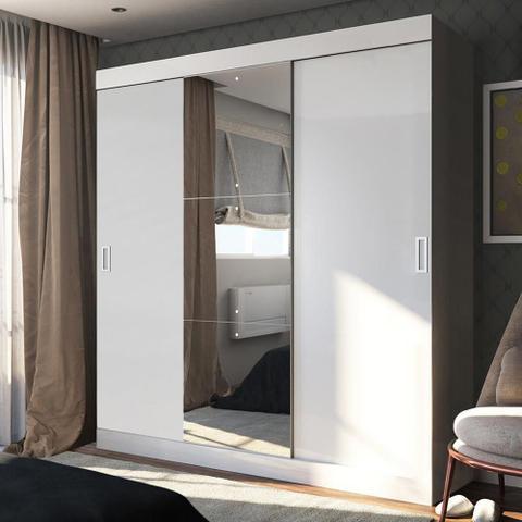 Imagem de Guarda-Roupa Casal 3 Portas de Correr 100% Mdf Emp com Espelho Branco - Pnr Móveis