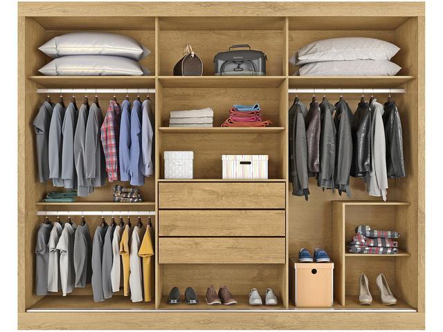 Imagem de Guarda-roupa Casal 3 Portas de Correr 3 Gavetas