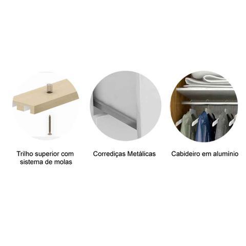 Imagem de Guarda Roupa Casal 3 Portas de Correr com Espelho e 4 Gavetas Anna ACP Móveis Carvalho