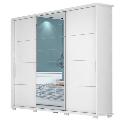 Imagem de Guarda Roupa Casal 3 Portas de Correr Fortuno Branco Madeirado Com Espelho