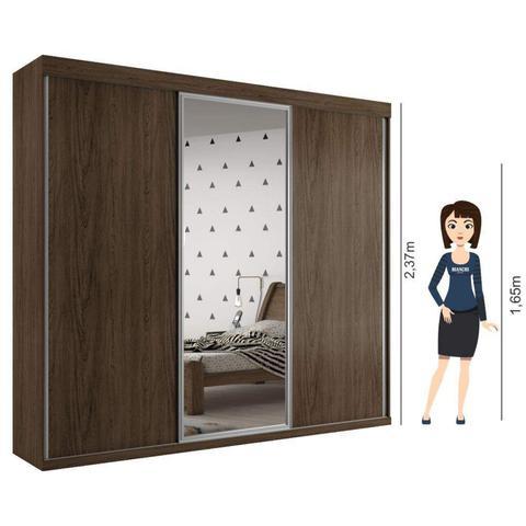 Imagem de Guarda Roupa Casal 3 Portas de Correr Grécia com espelho central Ébano Bianchi Móveis